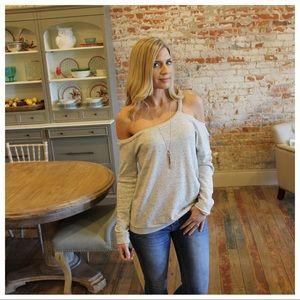 Heather gray single strap off shoulder top